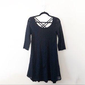 Anthropologie Puella Lace Swing Dress Black